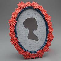 Фоторамка овальная керамическая с цветами  (17*23 см, ф - 13*18 см)