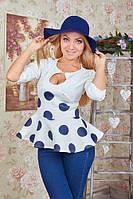 Утонченная кофта-блуза с баской и четвертным рукавом, фото 1