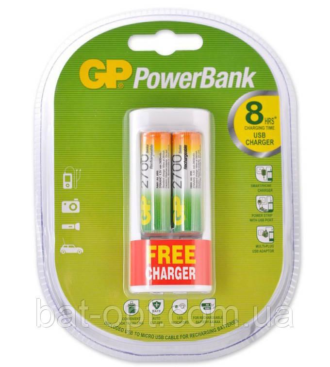 Комплект Аккумулятор GP R6 AA 2700mAh Ni-MH 2шт + ЗЭУ GP U211 c USB