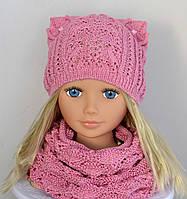 Ажурная шапочка для девочки с ушками, 50-56 см