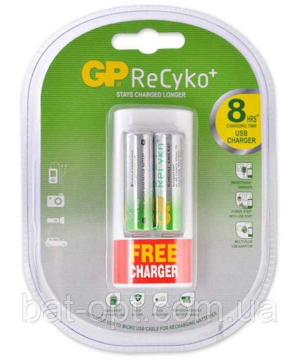 Аккумуляторы GP ReCyko R6 AA 2100mAh Ni-MH 2шт + ЗУ GP U211 с USB и 220V