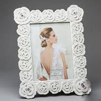 Фоторамка свадебная керамическая с белыми розами