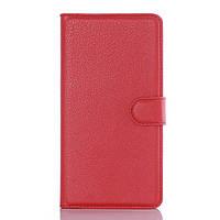 Чехол книжка Litchi Skin Wallet для Doogee KISSME DG580 красный
