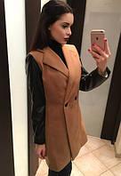 """Короткое кашемировое пальто с кожаными рукавами """"Дорис"""" S"""