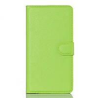 Чехол книжка Litchi Skin Wallet для Doogee KISSME DG580 зеленый