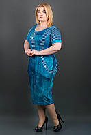 САРАФАН ДЖОАНИ (БИРЮЗА), летнее платье, стройнящее, ниже колена, из вискозы, большого размера 54-64, батал
