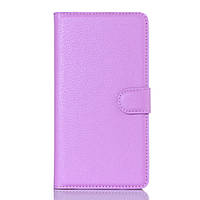 Чехол книжка Litchi Skin Wallet для Doogee KISSME DG580 фиолетовый
