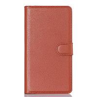 Чехол книжка Litchi Skin Wallet для Doogee KISSME DG580 коричневый