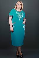 САРАФАН МАРТИНА МОРСКАЯ ВОЛНА, летнее платье с накаткой и карманами, за колено, большого размера 54-64, батал