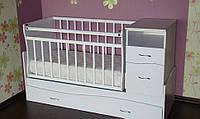 Детская кроватка трансформер Волна с пеленатором белая