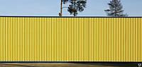 Профнастил желтого цвета,желтый профнастил,желтый забор