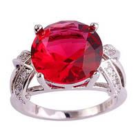 Кольцо,покрытое белым золотом с красным цирконом код 983 р 16,17,18,19,20