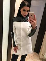 """Короткое кашемировое пальто с кожаными вставками """"Кожа"""" S"""