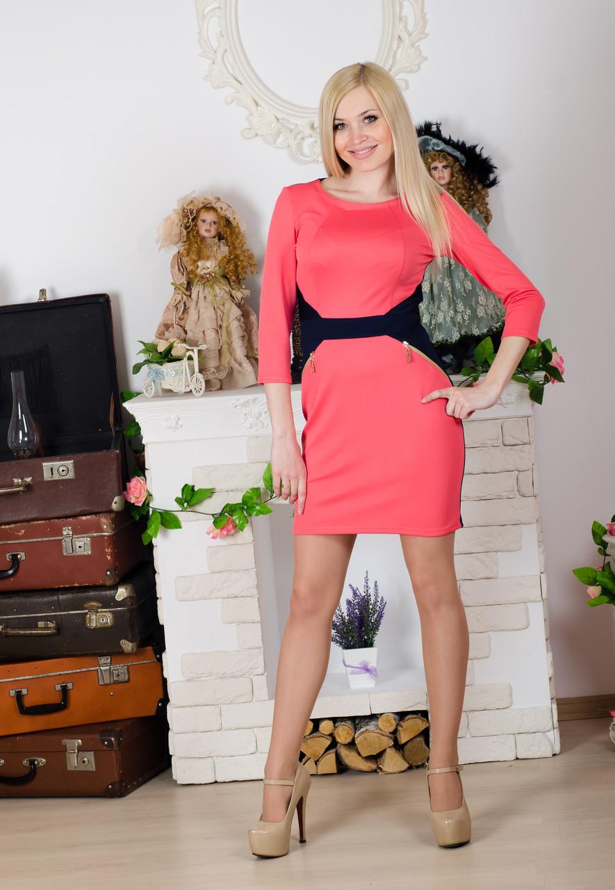 Деловое женское платье коралл