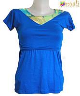 Футболка для беременных и кормящих «Краски лета» (сине-зелёная)