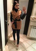 """Короткое кашемировое пальто с кожаными рукавами и поясом """"Кокетка"""""""