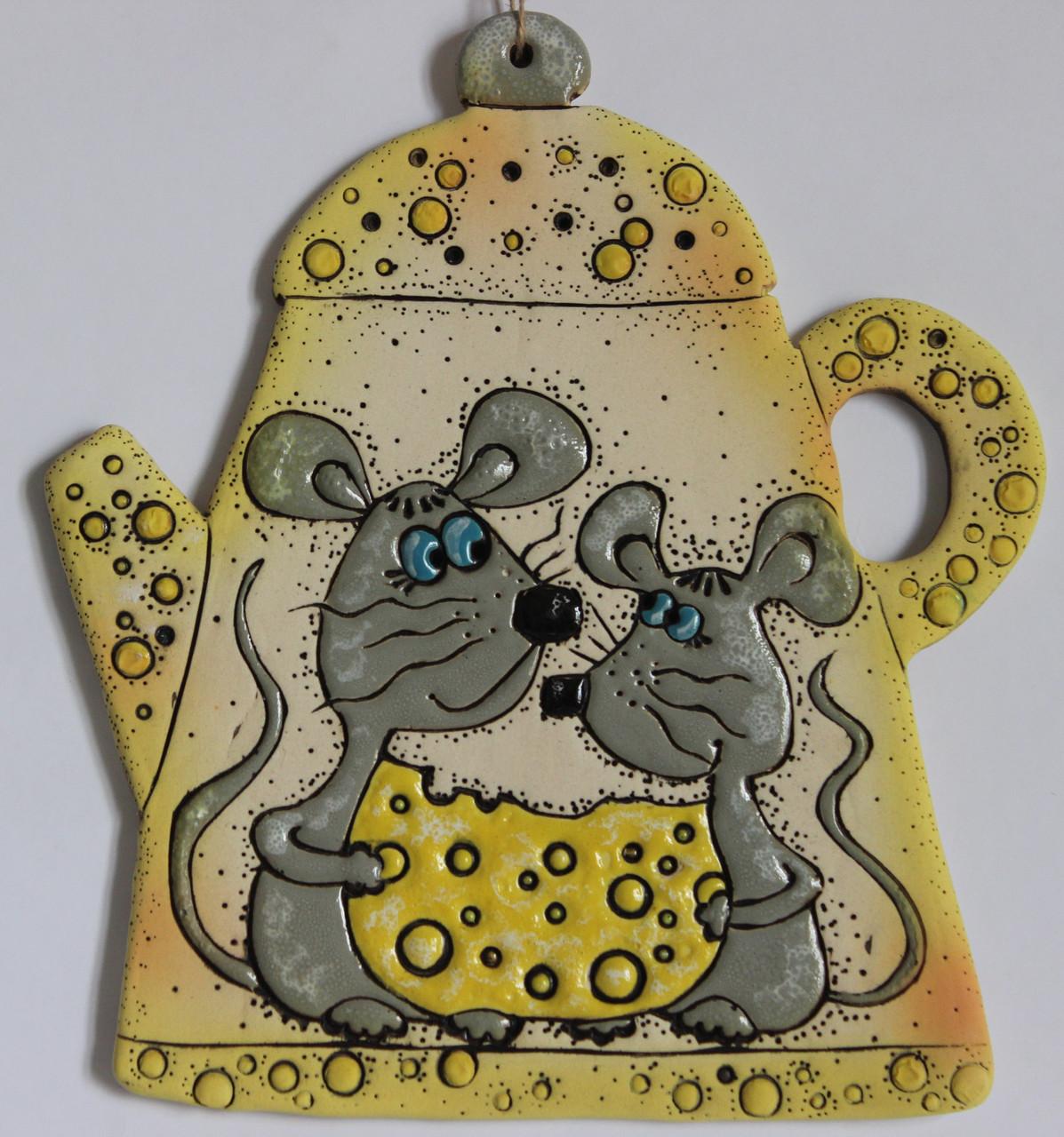 """Сувенир-пласт керамический """"Чайник с мышками"""""""