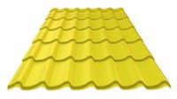 Металлочерепица МОНТЕРЕЙ желтая,желтая крыша,металлочерепица желтого цвета