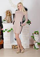 Стильное платье с молнией бежевое, фото 1