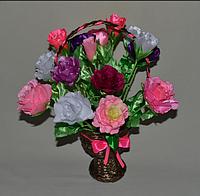 Букет Роз из лент в корзине. Оригинальный подарок мужчине, женщине