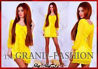 "Платье ""Бант-шифон"" цвет жёлтый только S, фото 1"