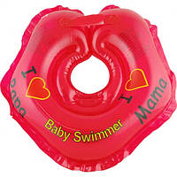 "Круг на шею ТМ Baby Swimmer красный. Серия ""Я люблю"" Вес 3 - 12 кг"
