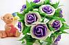 Декоративные цветы розы из латекса с фиолетовой серединкой упаковка 6 штук