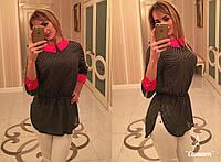 Женская шифоновая блуза в горох с поясом