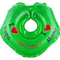 "Круг на шею ТМ Baby Swimmer зеленый. Серия ""Я люблю"" Вес 3 - 12 кг"