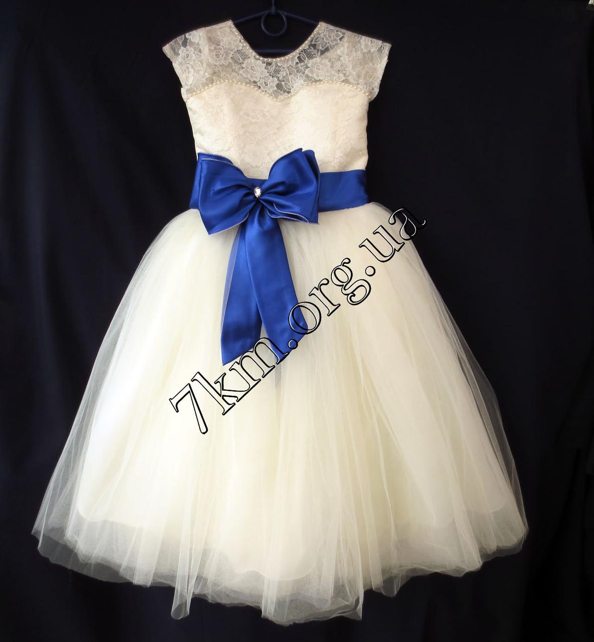 Платье нарядное бальное детское 6-7 лет Бант синий Украина оптом.