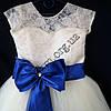 Платье нарядное бальное детское 6-7 лет Бант синий Украина оптом., фото 2