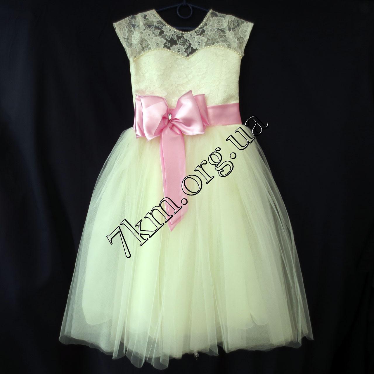 Платье нарядное бальное детское 6-7 лет Бант розовый Украина оптом.