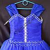 Платье нарядное бальное детское 6-7 лет Сваровски синее Украина оптом., фото 2