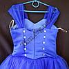 Платье нарядное бальное детское 6-7 лет Сваровски синее Украина оптом., фото 3