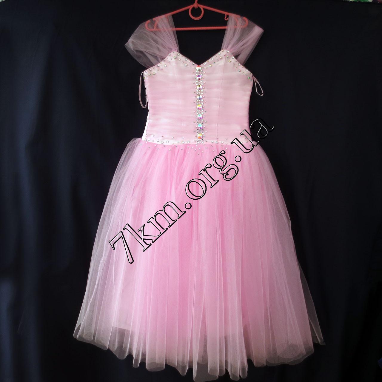 Платье нарядное бальное детское 6-7 лет Сваровски розовое Украина оптом.