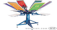 Оборудование шелкотрафаретной печати M&R SIDEWINDER 4 цвета/ 4 стола Side Clamps
