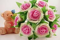Декоративные цветы розы из латекса с розовой серединкой упаковка 6 штук