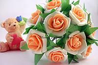 Декоративные цветы розы из латекса с персиковой серединкой упаковка 6 штук