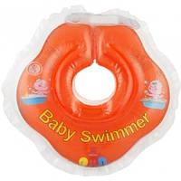 Круг на шею ТМ Baby Swimmer оранжевый с погремушками. Вес 3 - 12 кг
