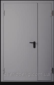Техническая металлическая дверь модель двух створчатая одно листовая серая., фото 2