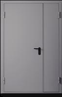 Техническая металлическая дверь модель двух створчатая одно листовая серая.