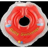 Круг на шею ТМ Baby Swimmer красный с погремушками. Вес 3 - 12 кг