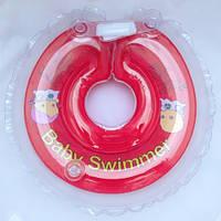 Круг на шею ТМ Baby Swimmer красный с погремушками. Вес 8 - 36 кг