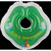Круг на шею ТМ Baby Swimmer зеленый с погремушками. Вес 3 - 12 кг