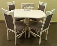 Раздвижной стол + 4 стула (белый, ваниль)
