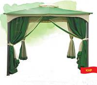 Летний шатер для дачи с москитной сеткой: 3*3 м, ткань с пропиткой ПВХ, зеленый
