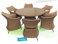 Классическая дачная мебель из искусственного ротанга Умбрия: стол со стеклом, 6 кресел