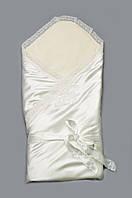 Атласный конверт-одеяло на выписку (Молочный), Модный карапуз