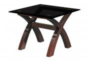 Дополнительный стол Флекс 650х650х510 прочрачное стекло графит.