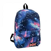 Молодёжный городской рюкзак с принтом звездное небо. Черный и синий.